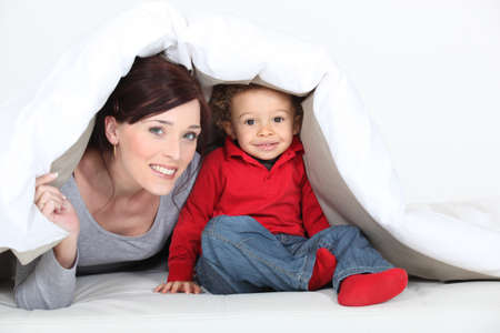 boy bedroom: Woman and her son