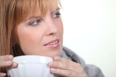 presentiment: blonde with bowl Stock Photo
