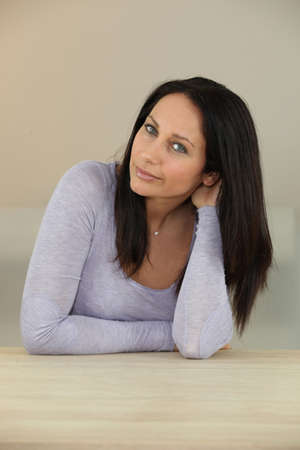 tilted: portrait of gorgeous brunette