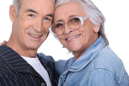 Close-up shot of an elderly couple photo