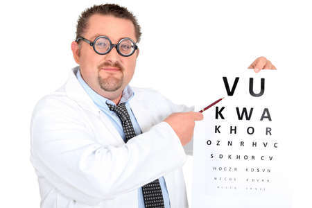 diopter: Funny ophtalmologist with bifocal glasses