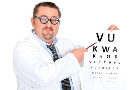 oculista: Oftalmólogo divertido con los vidrios bifocales