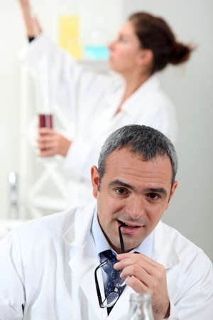 experimenter: Lab technicians Stock Photo
