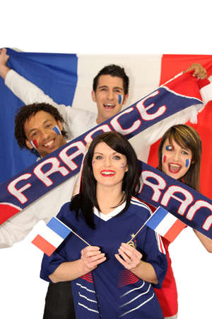 kibitz: A group of friends supporting the French football team