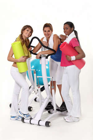 Girls with gym equipment photo