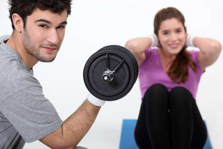 life partner: Young couple exercising Stock Photo