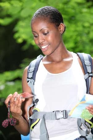 Woman orienteering photo