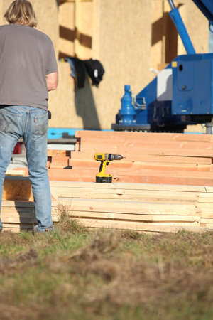 chippy: Construction work with planks of wood Stock Photo