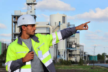 Worker with a walkie talkie photo