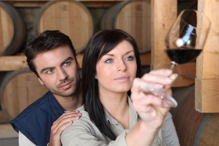 Couple analysing a wine photo