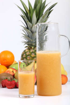 Fresh fruit and juice photo