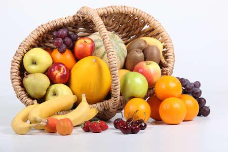 unblemished: Studio shot of a basket of fruit Stock Photo