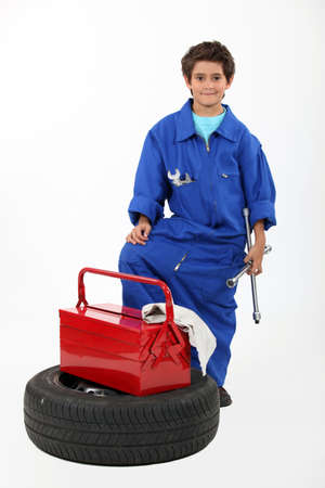 Children dressed as a mechanic photo