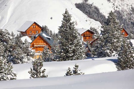 Chalets on a mountain photo