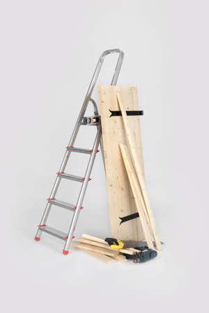 stepladder: Wooden shutter and stepladder