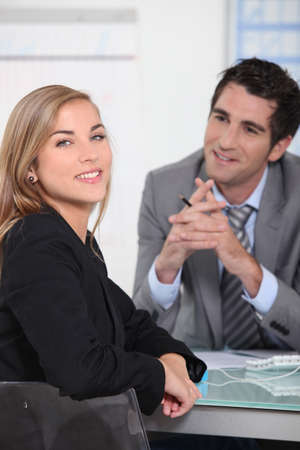 first job: Young woman in a job interview Stock Photo