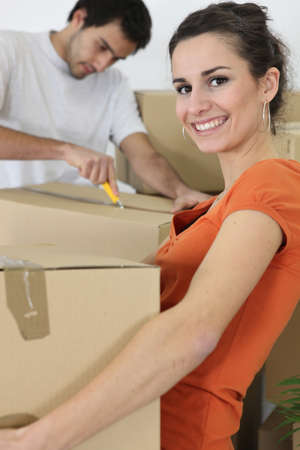 couple moving in an apartment photo