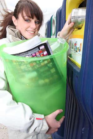 Le recyclage Femme Banque d'images