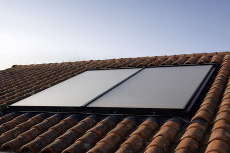 Solar panel on a roof photo