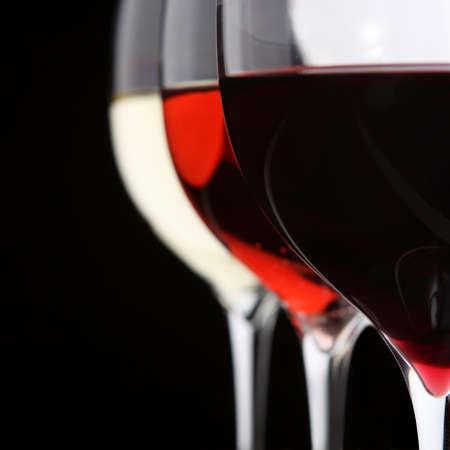 red taste: Three glasses of wine