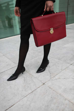 opaque: Woman with a red briefcase