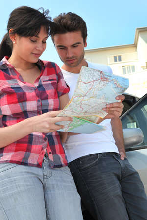 Couple looking at a map photo