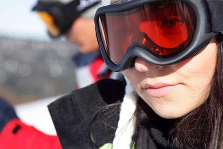 Female face with a ski mask photo