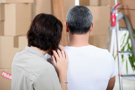 45 55 years: Couple moving house Stock Photo