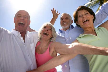 old people having fun: Two senior couples