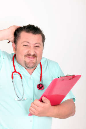 recognize: male nurse with red stethoscope and clipboard looking embarrassed