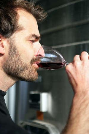 degustating: Man wine tasting
