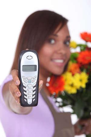 florist having phone call