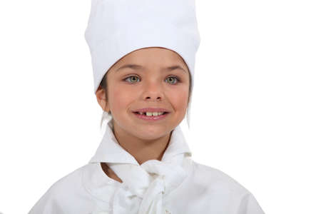 コックとして服を着た女の子