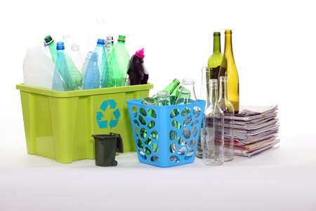 Recycling bottles and magazines Stock Photo