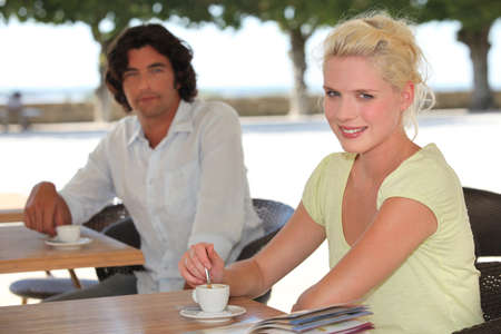 platinum hair: Couple drinking coffee