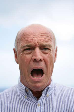 surprise face: Bald man shouting