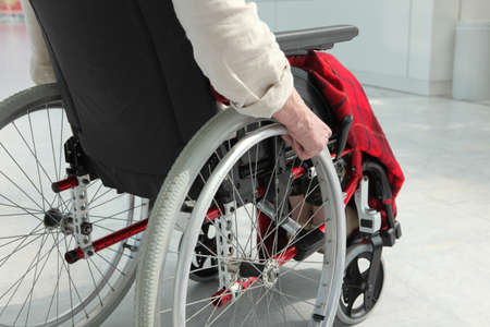 on ramp: elderly person in wheelchair