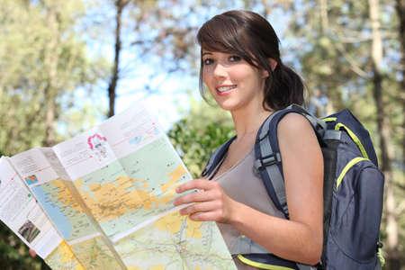 Teenage girl orienteering photo
