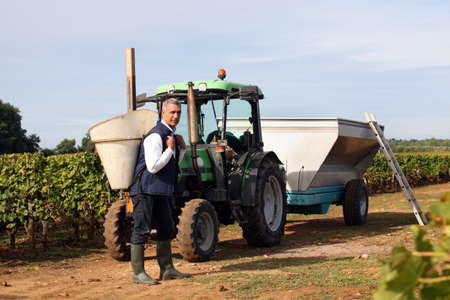Farmer stood by tractor on vineyard