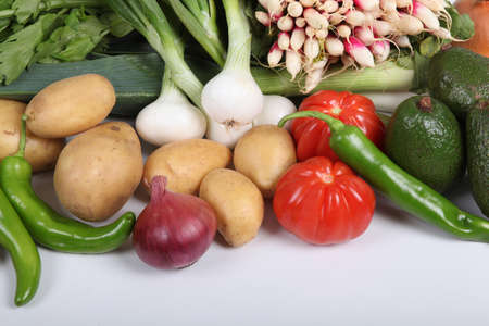 spring onions: Array of fresh vegetables Stock Photo