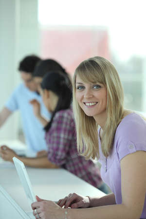 continuing education: Woman working on her laptop Stock Photo