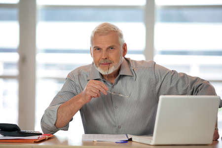 surfing the internet: An elderly man using his laptop Stock Photo