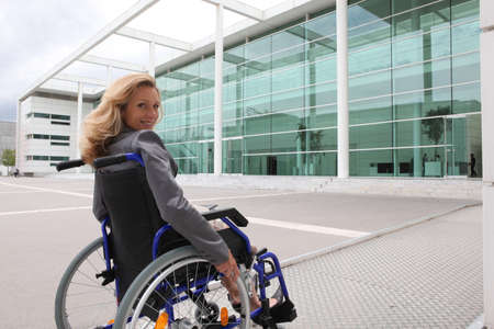 ramp: woman in wheelchair Stock Photo