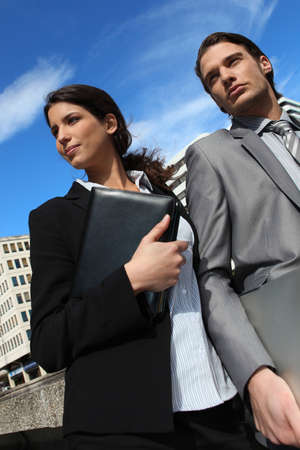 personal assistant: Business couple with a diary Stock Photo