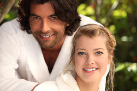 bath gown: Couple in dressing gowns