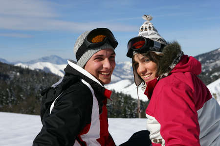 parka: Couple on a skiing trip