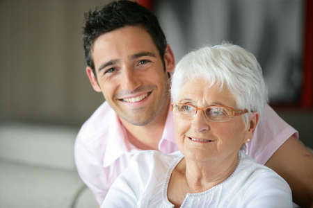 grandmother and grandson: Old lady and her grandson spending time together
