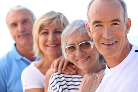 third age: senior people in a row