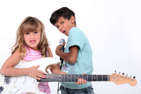 Children in a rock band