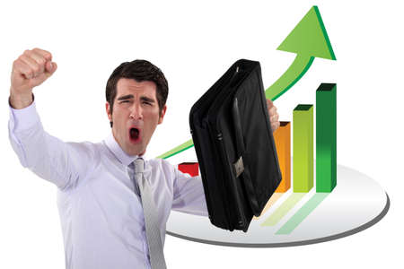 Excited businessman has made a profit Stock Photo - 23811028